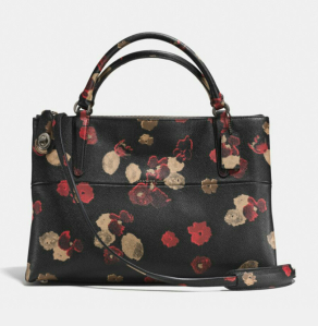 Turnlock Borough Bag in floral print leather. Imagine this bag with knee length red or camel wool coat!