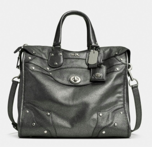 Rhyder 33 Satchel in metallic leather, Loving the subtle stud detailing.