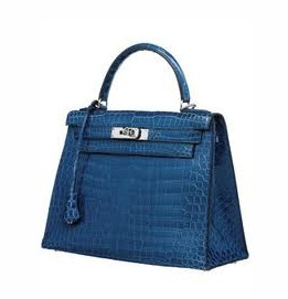The Kelly bag in gorgeous blue crocodile.