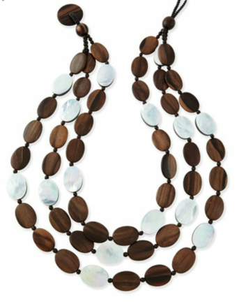 Viktoria Hayman Tiger Wood and Mother-of-Pearl Triple Strand Necklace $375