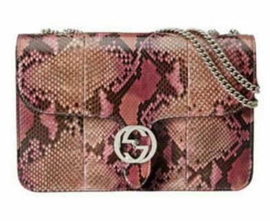 Linea B Python Medium Shoulder Bag, Pink Multicolor