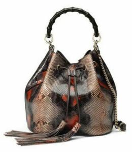 Miss Bamboo Medium Python Bucket Bag, Multi