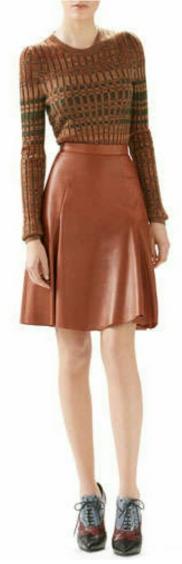 Merino Ribbed Crewneck Top & Leather Panel Skirt