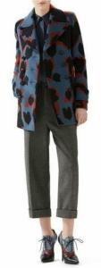 Leaves Jacquard Wool Coat, Satin Georgette Shirt & Felted Herringbone Ankle Pant