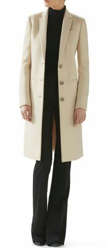 Wool Coat, Cashmere Turtleneck Sweater & Wool Skinny Flare Pant