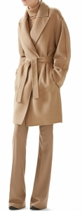 Double Wool Wrap Coat, Oversized Cashmere Turtleneck Sweater & Wool Flannel Skinny Flare Pant