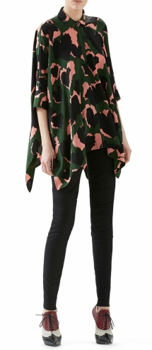 Leaves Print Silk Cape Shirt & Black Stretch Cotton Skinny Pant