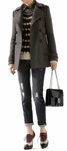 Felted Bonded Herringbone Peacoat, Wool-Mohair Embroidered Jacquard Sweater, Octagonal Jacquard Satin Embroidered Shirt, Stone Washed Stretch Ripped Denim Pant