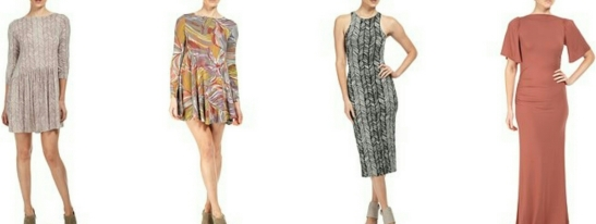 Left to right: Niven Dress, Farida Dress, Lyzy Dress, Reanna Dress