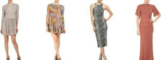 Left to right: Niven Dress, Farida Dress, Lyzy Dress, Reanna Dress