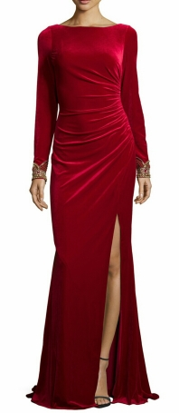 Badgley Mischka Velvet Ruched Gown $556