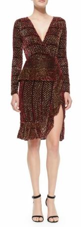 Altuzarra Paneled Velvet Devore Peplum Dress $2,306