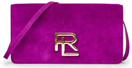 The RL Clutch in Berry Suede