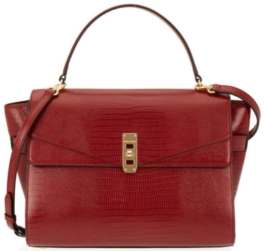 The Upton Lizard Satchel in dark red $550