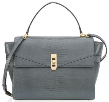 The Uptown Lizard Satchel in Dark Grey $550
