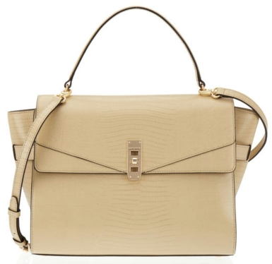 The Uptown Lizard Satchel in khaki $550