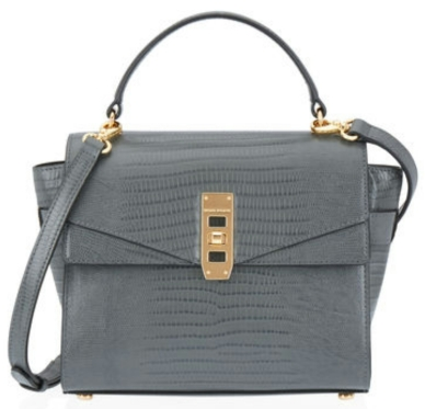 The Uptown Mini Lizard Satchel in dark grey $328