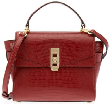 The Uptown MIni Lizard Satchel in dark red $328
