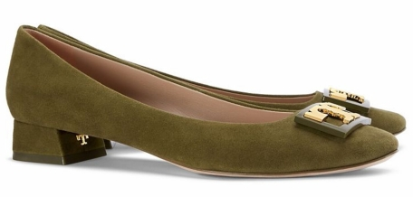 Tory Burch Suede Gigi Pump in Green Olive $275