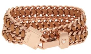 Padlock Leather Wrap Bracelet in Rose Gold $98