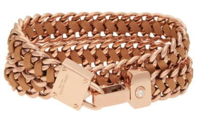 Padlock Leather Wrap Bracelet in Rose Gold $98