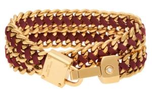 Padlock Leather Wrap Bracelet in Dark Red $98