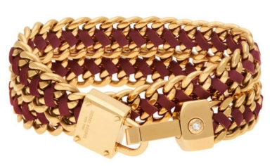Padlock Leather Wrap Bracelet in Dark Red $98