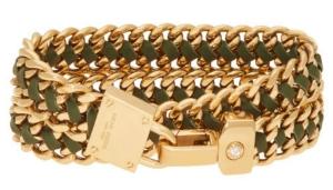Padlock Leather Wrap Bracelet in Dark Green $98