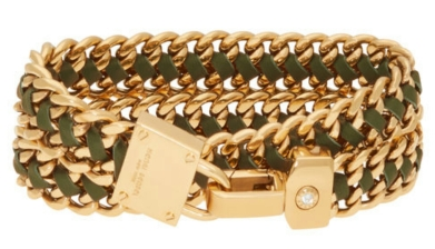 Padlock Leather Wrap Bracelet in Dark Green $98