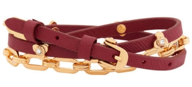 Petal Triple Wrap Bracelet in Dark Red $88